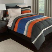 Rugby Stripe Reversible 6-Piece Twin Comforter Set in Orange/Blue