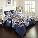 Marble Hill Floral Fantasy Reversible Full/Queen Comforter Set in Navy