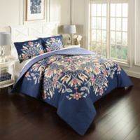 Marble Hill Floral Fantasy Reversible King Comforter Set in Navy
