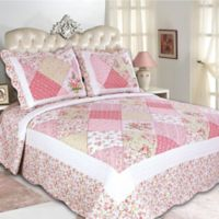Emily Reversible King Quilt Set in Pink