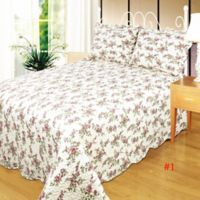 Gloria King Quilt Set in White Pink