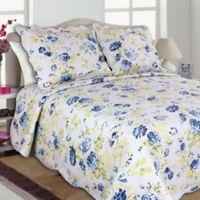 Joanne Full/Queen Quilt Set in Blue/Yellow