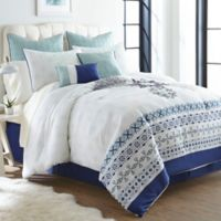 Mandy Boho 12-Piece King Comforter Set in White/Blue