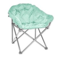 Folding Faux Mink Club Chair in Mint