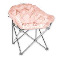 Folding Faux Fur Club Chair in Blush