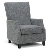 Simpli Home Noah Tweed Look Push Arm Recliner in Grey