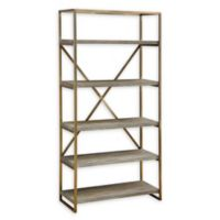 Coast to Coast Imports Helena Biscayne Bookcase in Weathered Brown/Gold