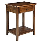 Casual Home Night Owl Nightstand with USB Port in Warm Brown