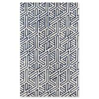 Momeni Delhi Geometric 5' x 8' Hand-Tufted Area Rug in Navy/White