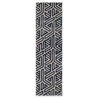 Momeni Delhi Geometric Hand-Tufted 2'3 x 8' Accent Rug in Navy/White