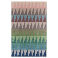 Momeni Delhi Geometric Triangle 5' x 8' Hand-Tufted Multicolor Area Rug in Blue
