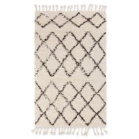 Surya Sherpa Shag 5' x 7'6 Area Rug in White/Black