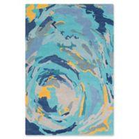 Surya Global Abstract 8' x 10' Area Rug in Mint/Denim