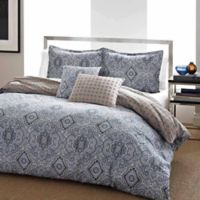 City Scene Milan Reversible Twin Duvet Cover Set in Blue
