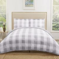 Truly Soft Everyday Buffalo Plaid Twin XL Duvet Cover Set in Grey