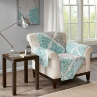 Madison Park Claire Reversible Printed Armchair Protector In Aqua