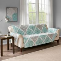 Madison Park Claire Reversible Printed Sofa Protector In Aqua