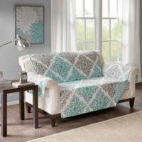Madison Park Claire Reversible Printed Loveseat Protector In Aqua
