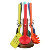Fiesta® 7-Piece Silicone Utensil Set with Acacia Caddy