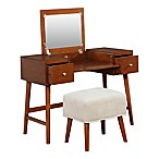 Linon Home Midcentury Modern Vanity Table and Bench Set in Brown