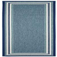Miami Border Stripe 8-Foot Indoor/Outdoor Runner Rug in Blue