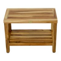 EcoDecors™ Classic 24-Inch Teak Shower Bench with Shelf in Natural