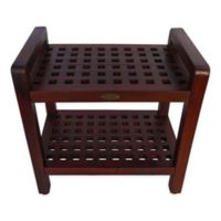 DecoTeak® Lattice 20-Inch Teak Shower Bench with Shelf and Arms in Brown