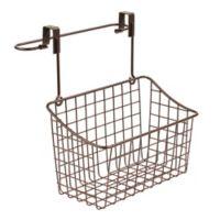Spectrum Steel Grid Medium Over-the-Door Towel Bar/Basket in Bronze