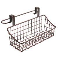 Spectrum Steel Grid Small Over-the-Door Towel Bar/Basket in Bronze