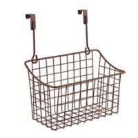 Spectrum Steel Grid Medium Over-the-Door Basket in Bronze