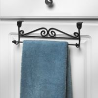 Spectrum Steel Scroll Over-the-Door Towel Bar in Black