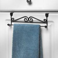 Spectrum Steel Scroll Over-the-Door Towel Bar in Black