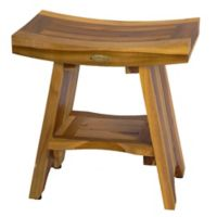EcoDecors™ Serenity 18-Inch Teak Shower Stool with Shelf in Natural