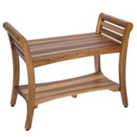 EcoDecors™ Symmetry 30-Inch Teak Shower Bench with Shelf and Arms in Natural