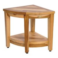 DecoTeak® Oasis Teak Corner Shower Bench with Shelf in Natural