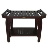 EcoDecors™ Tranquility 30-Inch Extended Height Teak Shower Bench with Shelf and Arms in Brown
