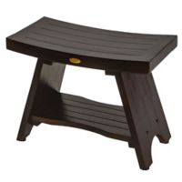 EcoDecors™ Serenity 24-Inch Teak Shower Bench with Shelf in Brown