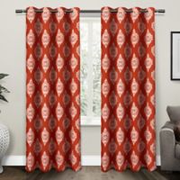 Medallion 84-Inch Grommet Top Room Darkening Window Curtain Panel Pair in Orange