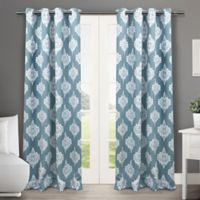 Medallion 63-Inch Grommet Top Room Darkening Window Curtain Panel Pair in Teal