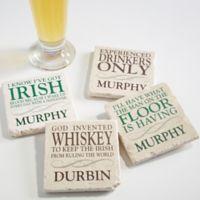 Irish Quotes Tumbled Stone Coasters (Set of 4)