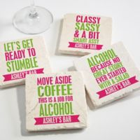 Party it Up Tumbled Stone Coasters (Set of 4)