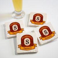Vintage Bar Tumbled Stone Coasters (Set of 4)