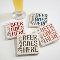 Beer Goes Here Tumbled Stone Coasters (Set of 4)