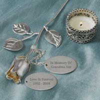 """""""In Memory of"""" Engraved Silver Keepsake Rose"""