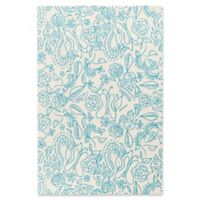 Surya Tic Tac Toe Floral 3' x 5' Area Rug in Sky Blue