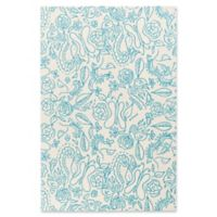 Surya Tic Tac Toe Floral 5' x 7'6 Area Rug in Sky Blue
