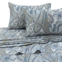 Tribeca Living Paisley Park 300-Thread-Count Deep-Pocket Twin XL Sheet Set in Blue