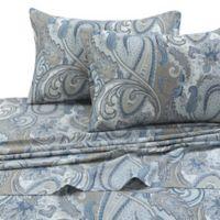 Tribeca Living Paisley Park 300-Thread-Count Deep-Pocket Twin XL Sheet Set in Blue