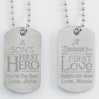 First Hero, First Love Engraved Dog Tags (Set of 2)
