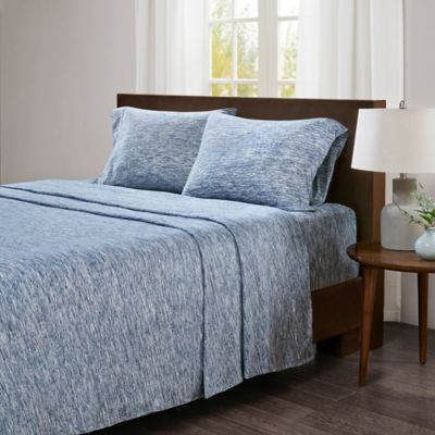 Incroyable Urban Habitat Space Dyed Cotton Jersey Knit Twin Sheet Set In Blue